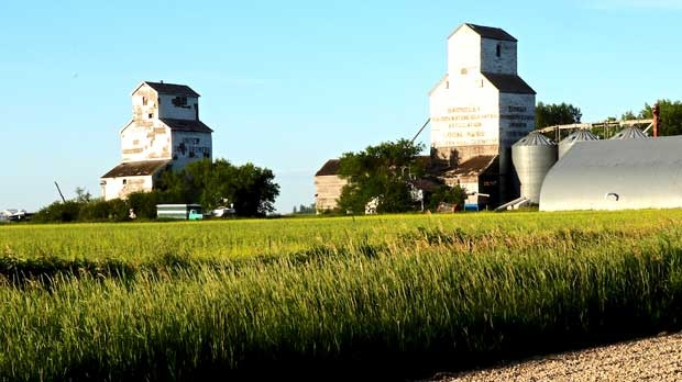 Two great elevators left in Barnsley Manitoba. Photo by Bev McLean.