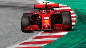 Ferrari driver Charles Leclerc steers his car during the Austrian Formula One Grand Prix at the Red Bull Ring racetrack in Spielberg, Austria, on July 5, 2020. (Darko Bandic / AP)