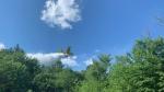 Water bomber flies over Sudbury area forest fire. Jul 8/20 (Jesse Oshell)