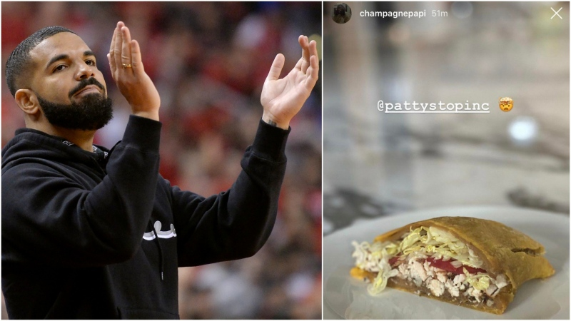 Drake has made it clear which Jamaican patty joint he thinks reigns supreme in Toronto. (The Canadian Press/Nathan Denette and Instagram/champagnepapi)