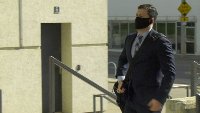 Matthew McKnight walks into the Edmonton Law Courts building ahead of the second day of his sex assault sentencing hearing. (Jay Rosove/CTV News)