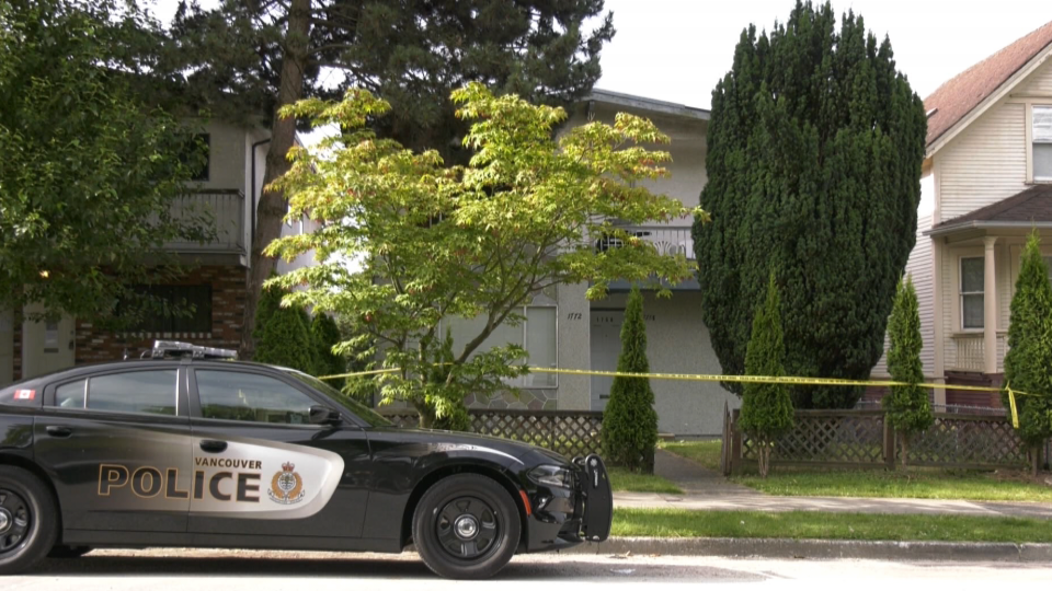 A Vancouver police cruiser is parked at the scene of a double homicide on Wednesday, July 8, 2020.
