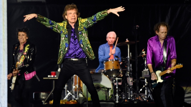 Ron Wood, from left, Mick Jagger, Charlie Watts and Keith Richards of the Rolling Stones perform during a concert in Pasadena, Calif.  (Photo by Chris Pizzello / Invision / AP, File)