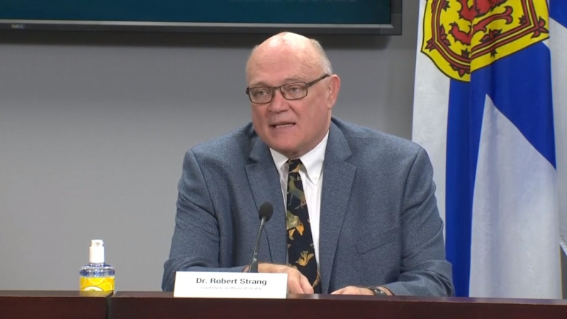 Dr. Robert Strang, Nova Scotia's chief medical officer of health, provides an update on COVID-19 during a news conference in Halifax on July 9, 2020.