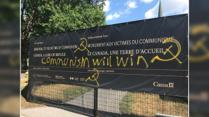 The Ukrainian Canadian Congress shared this photo of vandalism at the construction site of the Memorial to the Victims of Communism. Police are investigating. (Source: Tribute to Liberty Foundation Facebook Page)