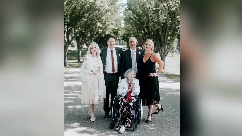Muriel McInnes with her family. She is known for her dedication to family and her positive attitude. (Courtesy Alison McInnes)