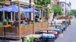 A restaurant patio is seen on Montreal's Mount Royal street. (File: THE CANADIAN PRESS/Paul Chiasson)