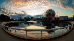 Science World at sunset, captured by Diones Lago on July 6, 2020.