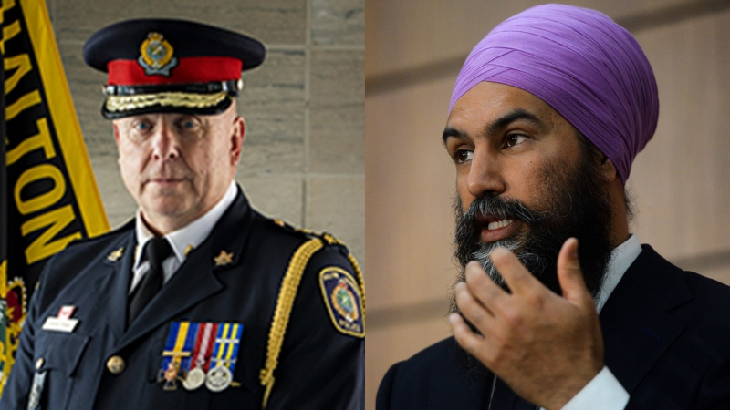 Halton Region's police chief, Steve Tanner, is seen on the left and NDP Leader Jagmeet Singh is seen on the right of this composite image.