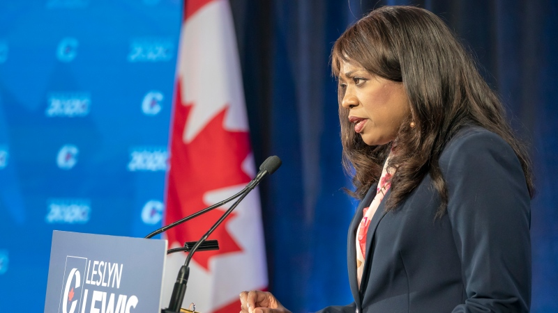 Conservative Party of Canada leadership candidate Leslyn Lewis makes her opening statement at the start of the French leadership debate in Toronto on Wednesday, June 17, 2020. THE CANADIAN PRESS/Frank Gunn