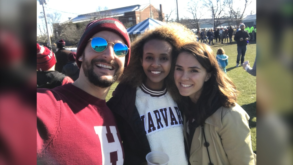 Chevy Lazenby, right, with friends at Harvard. The Calgarian is one of thousands of international students who could be forced to leave the U.S. because of new rules around COVID-19. (Courtesy Chevy Lazenby)