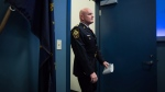 In this file photo, Vancouver Police Chief Adam Palmer arrives for a news conference in Vancouver, B.C., on Wednesday November 8, 2017. Canada's police chiefs are calling for decriminalization of personal possession of illicit drugs as the best way to battle substance abuse and addiction. THE CANADIAN PRESS/Darryl Dyck
