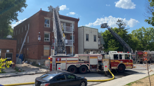 Fire crews rushed to battle a two-alarm fire on Nelson Street in Lowertown Thursday afternoon. (Jeremie Charron/CTV News Ottawa)
