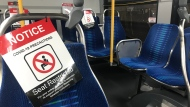 A Transit Windsor COVID-19 social distancing precautions on a bus in Windsor, Ont. on Thursday, July 9 2020 (Rich Garton/CTV Windsor)