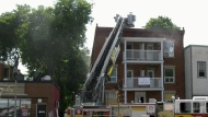 Firefighters battle blaze, and intense heat
