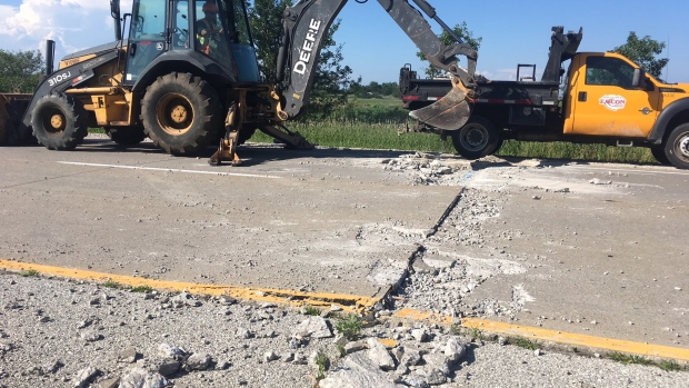 A section of Highway 3 between Manning Road and Ellis Side Road buckled due to extreme heat in Essex County, Ont. (Chris Campbell, CTV Windsor)