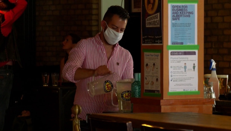 Staff at the King Eddy are all wearing facemasks, just one of the safety precautions in place at the music hall for its Boots On Stampede event.