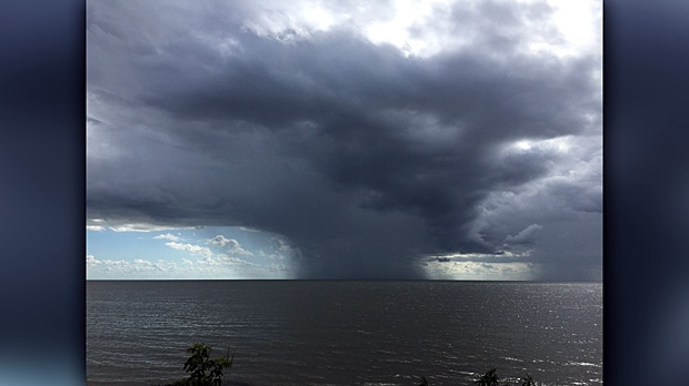Storm over Lake Manitoba. Photo by Karen Shoup.