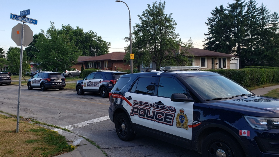 A heavy police presence at D'Arcy Place on July 9, 2020 (Scott Clarke / CTV News Kitchener)