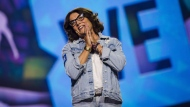 Margaret Trudeau speaks to the audience at fans at the We Day event in Toronto, on Thursday, September 20, 2018. Mental-health advocate Trudeau is bringing her autobiographical one-woman show to Montreal this summer. THE CANADIAN PRESS/Christopher Katsarov