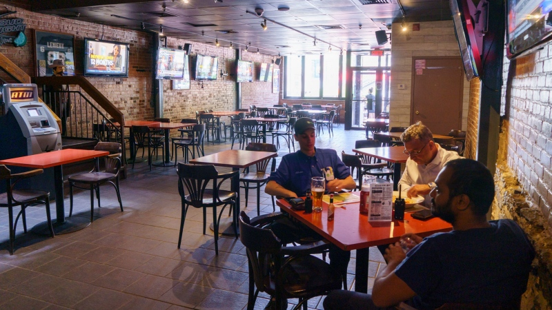 A near-empty bar is seen in Montreal, on Thursday, July 9, 2020. The Quebec government announced new rules for bars as of Friday, following a flare-up of COVID-19 infections on Montreal's South Shore. THE CANADIAN PRESS/Paul Chiasson