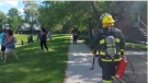 Fire crews on scene of the fire in the 100 block of Lumsden Avenue.