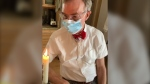 Bill Nye is seen in a mask in this screenshot from TikTok (TikTok/@billnye)
