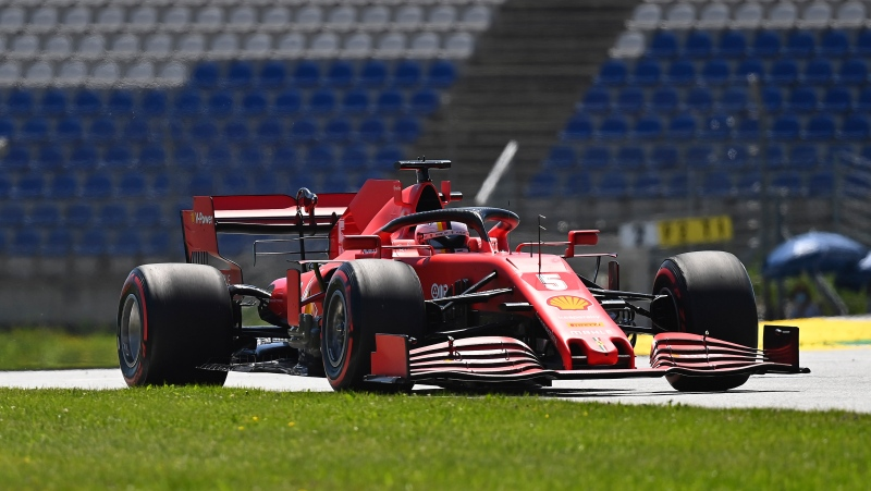 Ferrari driver Sebastian Vettel of Germany steers his car during the first practice session for the Styrian Formula One Grand Prix at the Red Bull Ring racetrack in Spielberg, Austria, July 10, 2020. (Joe Klamar/Pool via AP)