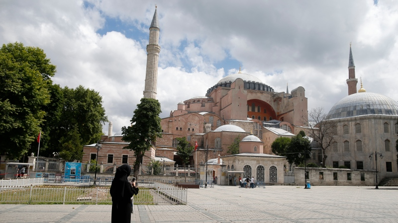 The Byzantine-era Hagia Sophia, an UNESCO World Heritage site and one of Istanbul's main tourist attractions in the historic Sultanahmet district of Istanbul, Friday, July 10, 2020.(AP Photo/Emrah Gurel)