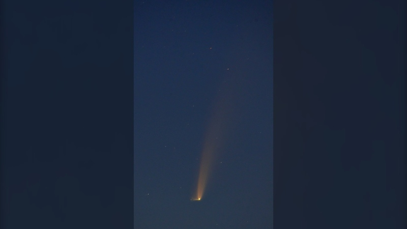 Comet NEOWISE C/2020 F3 is visible over Steinbach on July 9, 2020. (SOURCE: Christopher Bleasdale)