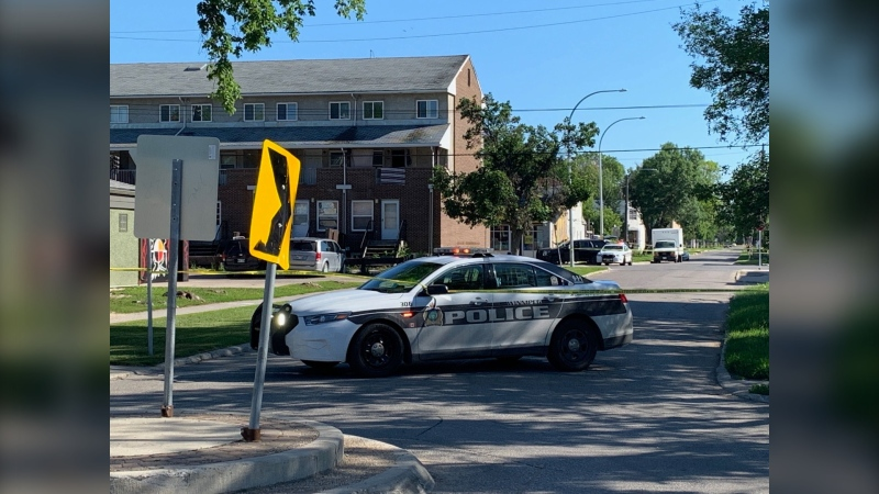 Winnipeg police are investigating a weapons-related incident on Selkirk Avenue on July 10, 2020. (CTV News Photo Owen Swinn)