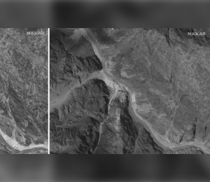 This combination of June 28, 2020, left, and July 6, 2020, satellite images provided by Maxar Technologies shows the Galwan Valley along the disputed border between India and China. (Maxar Technologies via AP)