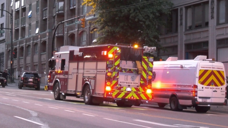 One person is dead after a fire in an apartment building in downtown Vancouver Thursday.