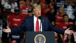 In this June 20, 2020, file photo, U.S. President Donald Trump speaks during a campaign rally in Tulsa, Okla. (AP Photo/Sue Ogrocki, File)