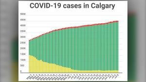 COVID-19 cases (active, recovered and fatal) in Calgary as of July 8, 2020