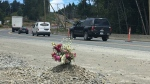 A memorial was created along the Malahat for David Tilley, a 46-year-old Vancouver man who was killed in a collision: June 11, 2018. (CTV Vancouver Island)