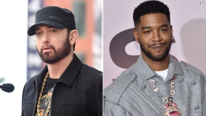 Kid Cudi and Eminem released their first collaboration on Friday titled 'The Adventures of Moon Man & Slim Shady.' The song touches on a number of topics, from people refusing to wear masks to police brutality. (Getty)