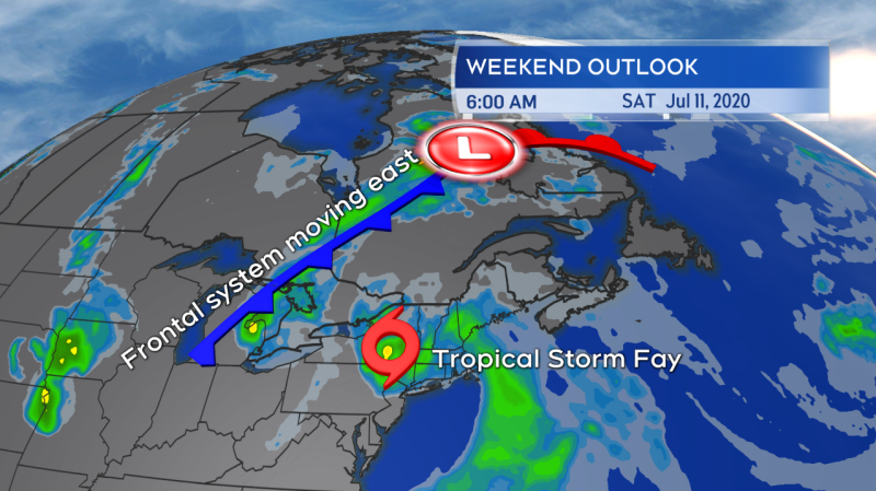 Tropical Storm Fay is forecast to landfall in New Jersey tonight. Moving almost directly north it will run into a weather front approaching from the west this weekend