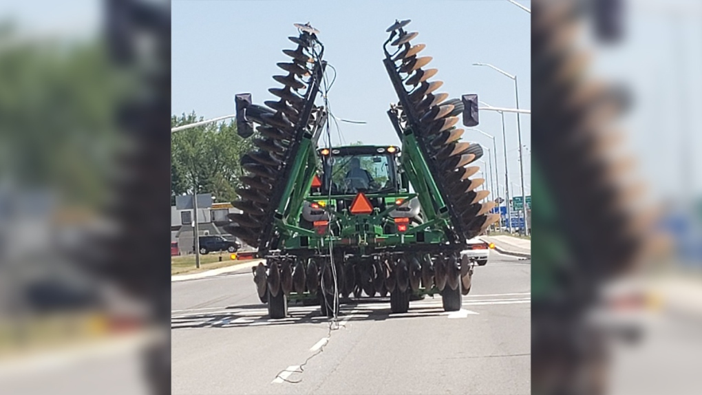 Farm tractor hits hydro lines