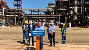Premier Jason Kenney and Shell Canada President and Country Chair Michael Crothers announce on July 10, 2020, the Quest carbon capture and storage facility at the Scotford complex in Fort Saskatchewan has captured five megatonnes of carbon dioxide.