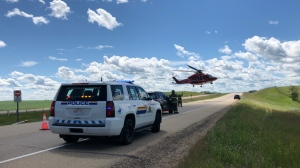 Four people were sent to hospital July 10, 2020, after the vehicle they were in rolled on the QEII north of Ponoka near Menaik Road. (Source: RCMP)