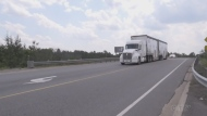 Transport truck travels down northern highway. Jul 10/20 (Eric Taschner/CTV Northern Ontario)