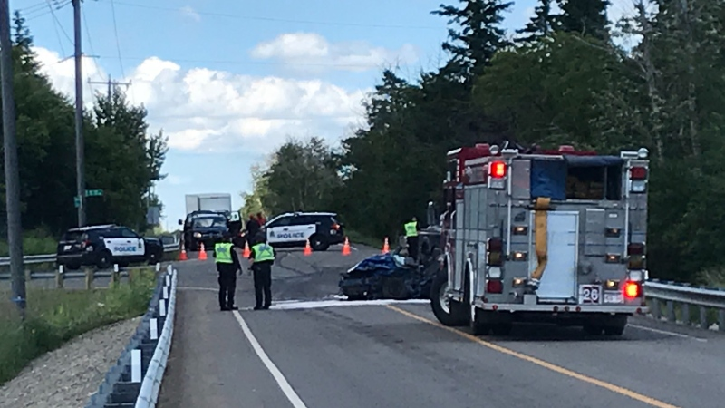 Police are investigating a two-vehicle crash on Ellerslie Road that sent one person to hospital with life-threatening injuries. July 10, 2020. (CTV News Edmonton)