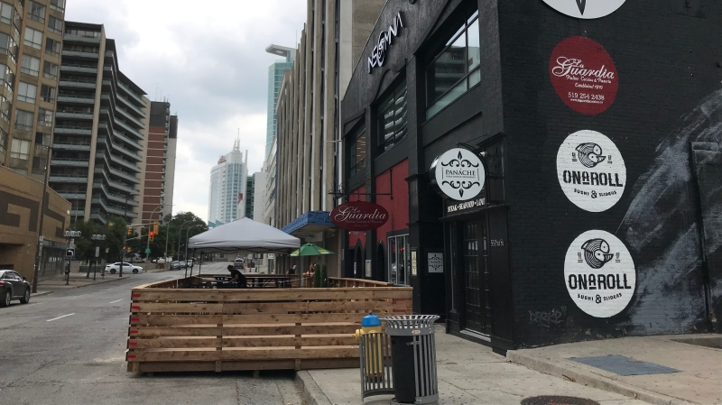 A new downtown parklet opened for outdoor dining in Windsor, Ont. on Friday, July 10 2020 (Michelle Maluske/CTV Windsor)