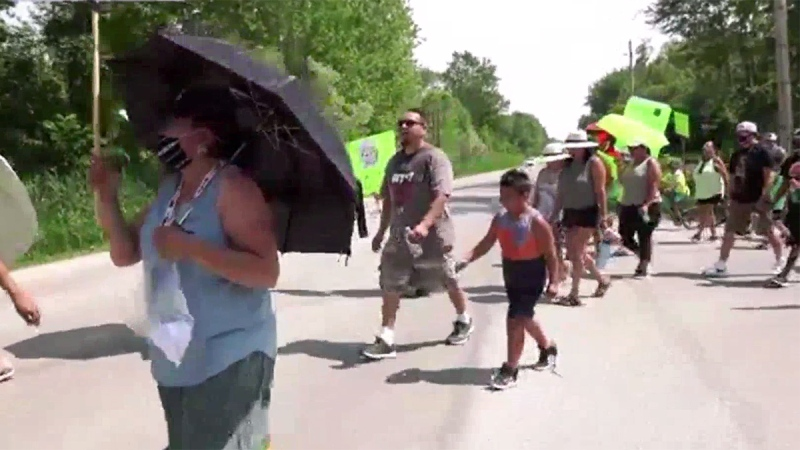 A march against drugs is held at the Oneida Nation of the Thames, southwest of London, Ont. on Friday, July 10, 2020. (Marek Sutherland / CTV News)