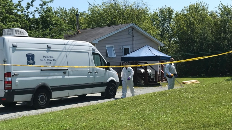 Forensic identification officers spent Friday combing a property in Eastern Passage, N.S., searching for clues in a fatal police-involved shooting that left a man dead. (CTV ATLANTIC / NATASHA PACE)