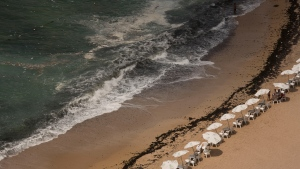 n this Aug. 8, 2019, photo, garbage creeps towards the shore at Stanley Beach in Alexandria, Egypt. Authorities say that 11 people drowned off the coast of northern Egypt on Friday, July 10, 2020 at a beach known for its rocky jetty and fast-moving waters. (AP Photo/Maya Alleruzzo, file)