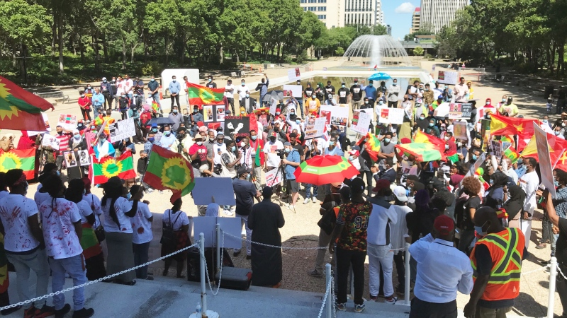 Protesters took a stance against the Ethiopian government on Friday at the Alberta legislature grounds. (Galen McDougall/CTV News Edmonton)