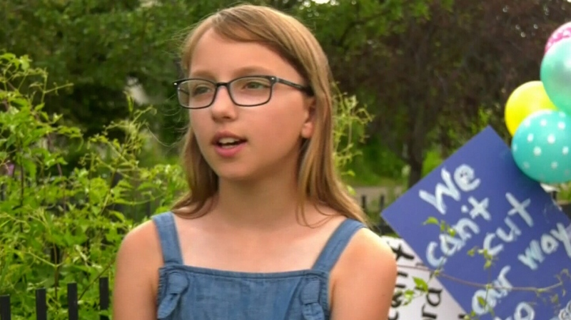 11-year-old students protest education cuts