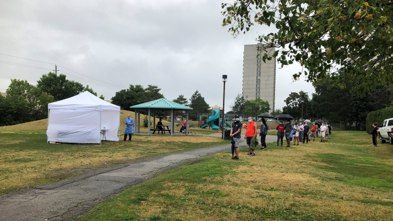 A mobile COVID-19 testing booth is set up at Ogilvie North Park Sat. July 11, 2020. (Dave Charbonneau / CTV News Ottawa)